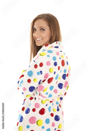 polka dot robe look over shoulder