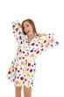woman polka dot robe yawn