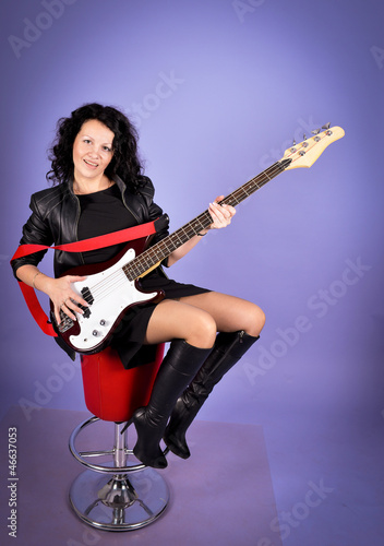 Pretty woman with guitar