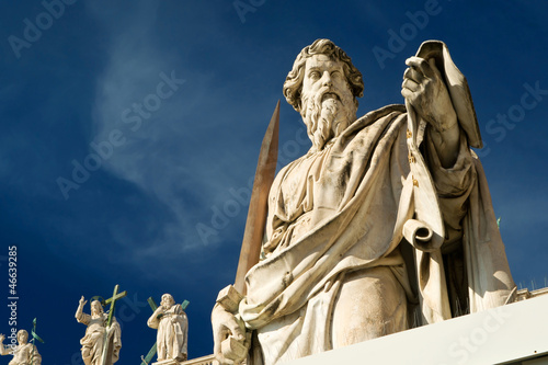 Statue of Apostle Paul in front of the Basilica of St. Peter, Va