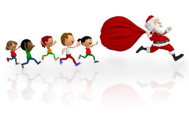 3D kids chasing Santa