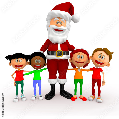 3D Santa with a group of kids