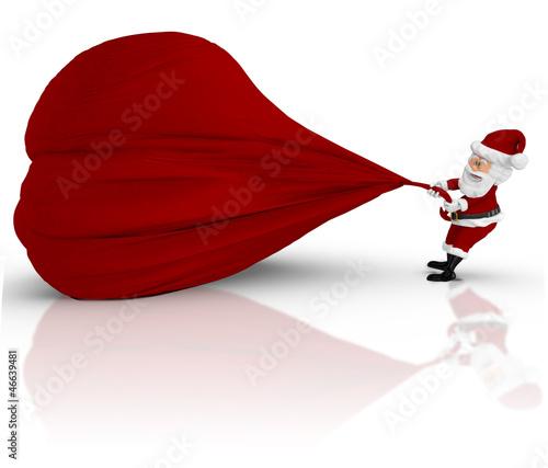 3D Santa pulling a gift sack