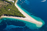 Aerial photograph of famous Zlatni Rat beach in Bol, Brac Island