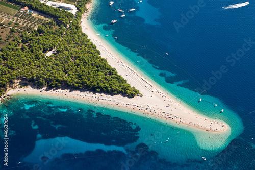 canvas print picture Aerial photograph of famous Zlatni Rat beach in Bol, Brac Island