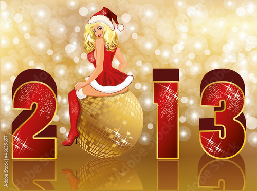 New 2013 year card with sexy santa girl