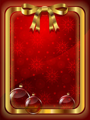 Christmas red background with decorations and snowflakes