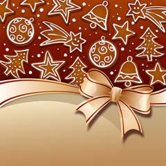 Christmas gingerbread on brown background with riboon