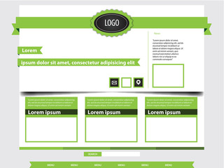 Website template - green ribbons