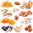 Collection of nuts and dried fruits isolated on the white