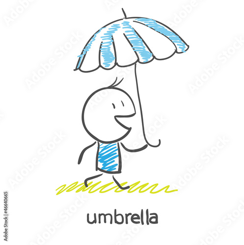 A man under an umbrella