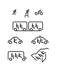 Stick Man Transportation Icons