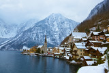 Fototapety Village Hallstatt on the lake - Salzburg Austria