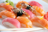 Sushi set on a plate, close-up, studio shot