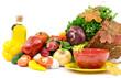 Autumn cornucopia, vegetables, olive oil and ceramic bowl
