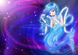 Manga style of zodiac sign on cosmic background, Pisces
