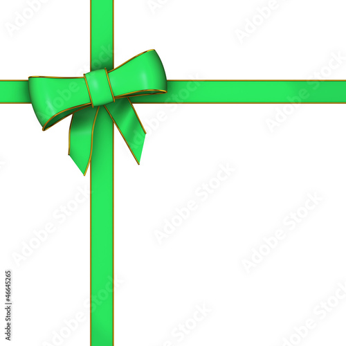 3d Green Gift wrapping bow and ribbon