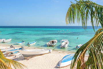 Beach of island Grand Roque from above, Venezuela