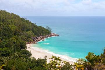 Seashore of Praslin island from above, Seychelles