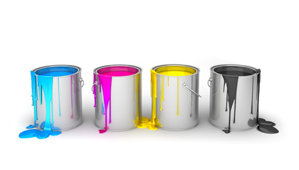 CMYK buckets isolated on white