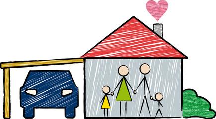 Junge Familie mit Haus und Auto