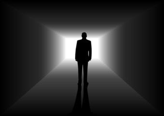 Silhouette illustration of a man figure in the tunnel