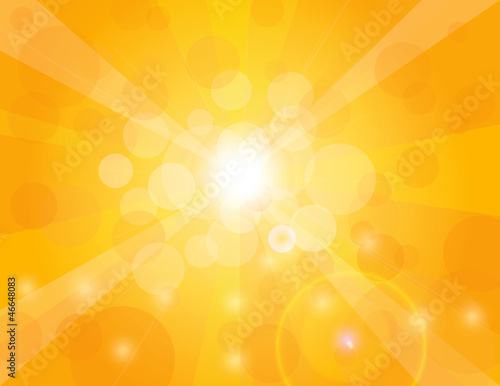 Sun Rays on Orange Background Illustration