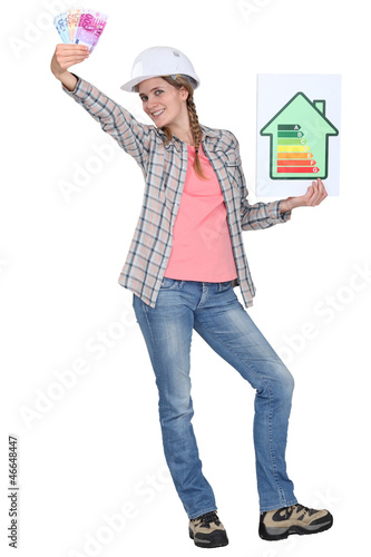 Builder with a energy rating sign