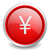 Yen red button - design web icon