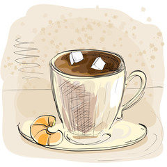 Sketch brown cup of coffee with sugar