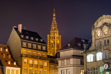 View of Strasbourg Cathedral from The Place Kleber. France
