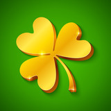Golden clover on green background for St. Patrick's day