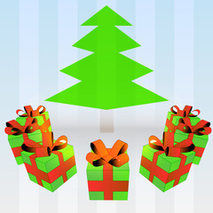 gift boxes around green tree down on striped blue background