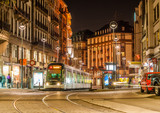 Modern tram on at Strasbourg city center. France, Alsace