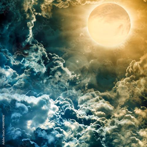 Fototapeta full moon over dark sky with
