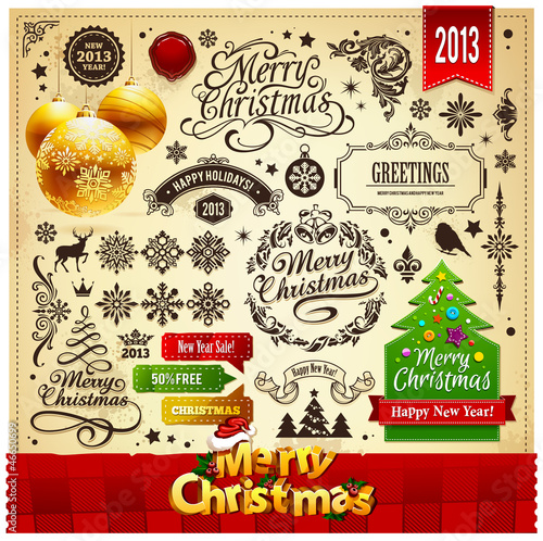 Christmas decoration vector elements set
