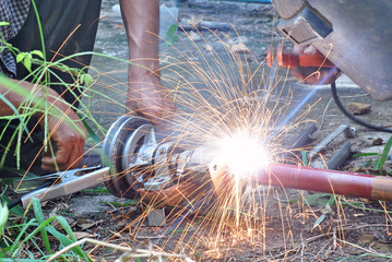 sparks frying while welder work