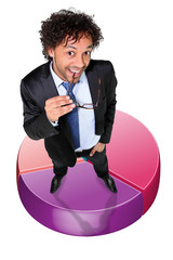 successful businessman posing on a circle diagram