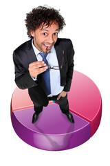 successful businessman posing on a circle diagram