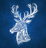 Pattern in a shape of a deer on the blue background.