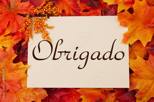 Obrigado card with fall leaves