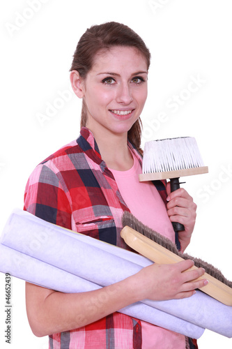 Woman with wallpaper