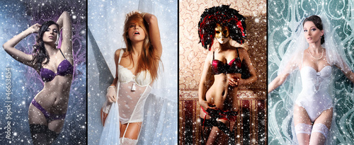 A collage of young women in erotic clothes on a snowy background