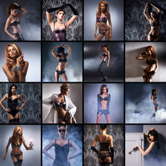 A collage of young Caucasian woman posing in erotic clothes