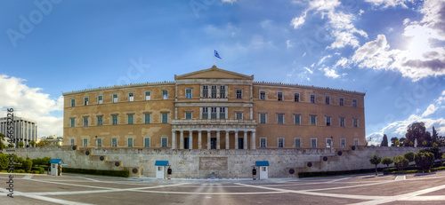 Panoramic view of the Greek Parliament building, Athens