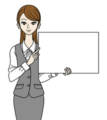 Office Lady With Whiteboard ,Waist Up