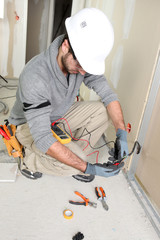 Electrician on construction site
