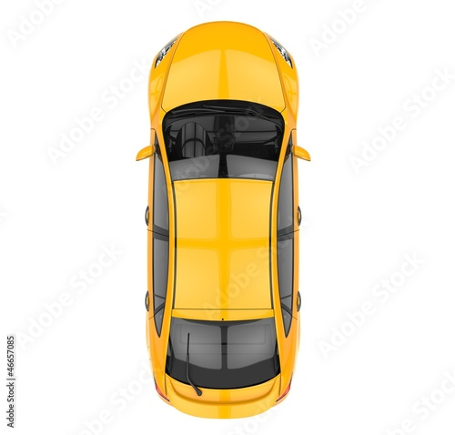 Yellow Car Top View