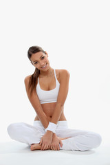 Woman in white gymwear