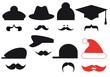 Mustache set with hats, vector